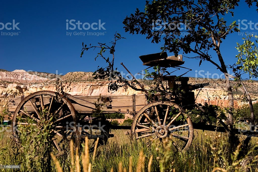 Old Travels Wagon near Ghost Ranch, New Mexico stock photo
