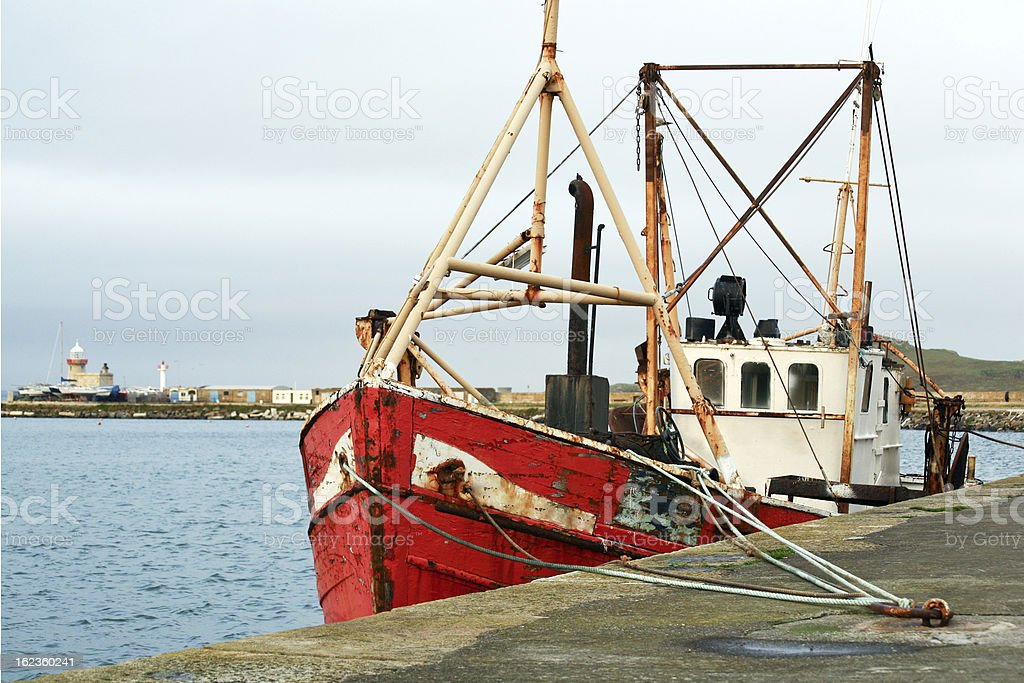Old trawler in Howth harbor royalty-free stock photo