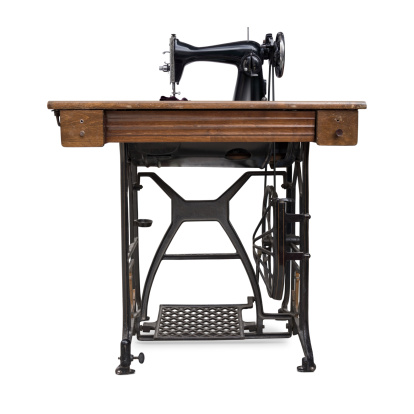 Old Treadle Sewing Machine Stock Photo - Download Image Now