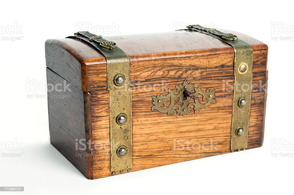 Old treasure chest on white background royalty-free stock photo