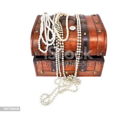 Old Treasure Chest With Jewellery