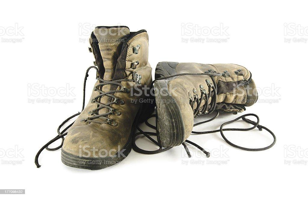 Old trekking boots stock photo
