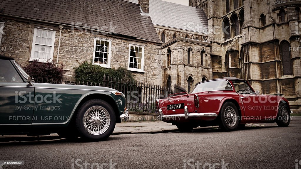 Old Triumph Classic Cars Parked Outside Lincoln Cathedral ...