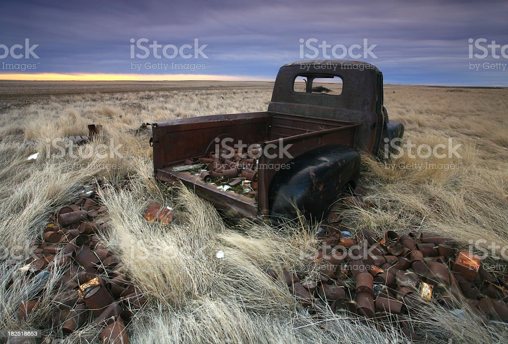 Old Truck and Tin Cans royalty-free stock photo