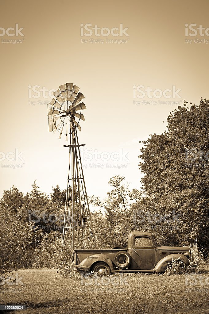 Old Truck and Windmill royalty-free stock photo