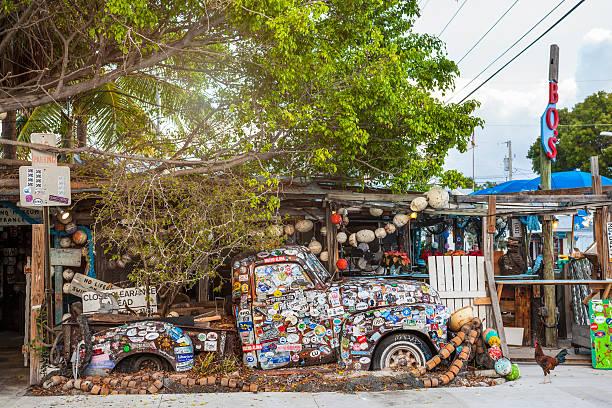 Old truck at Bo's Fish Wagon, Key West, Florida stock photo