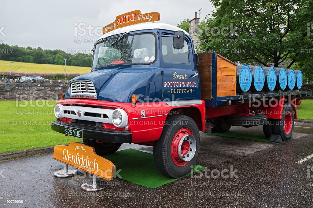 Old truck for transportation of whisky - Dufftown, Scotland stock photo