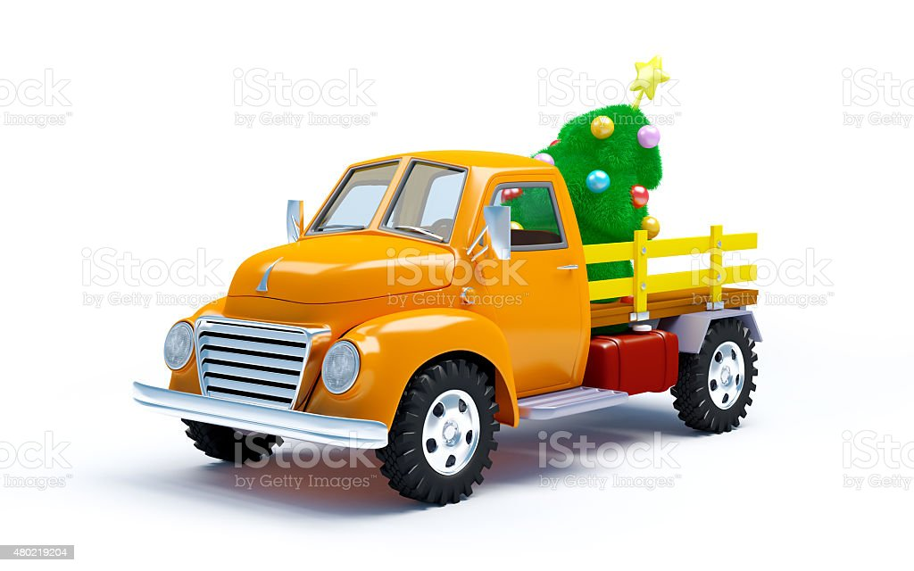 old truck with Christmas tree stock photo