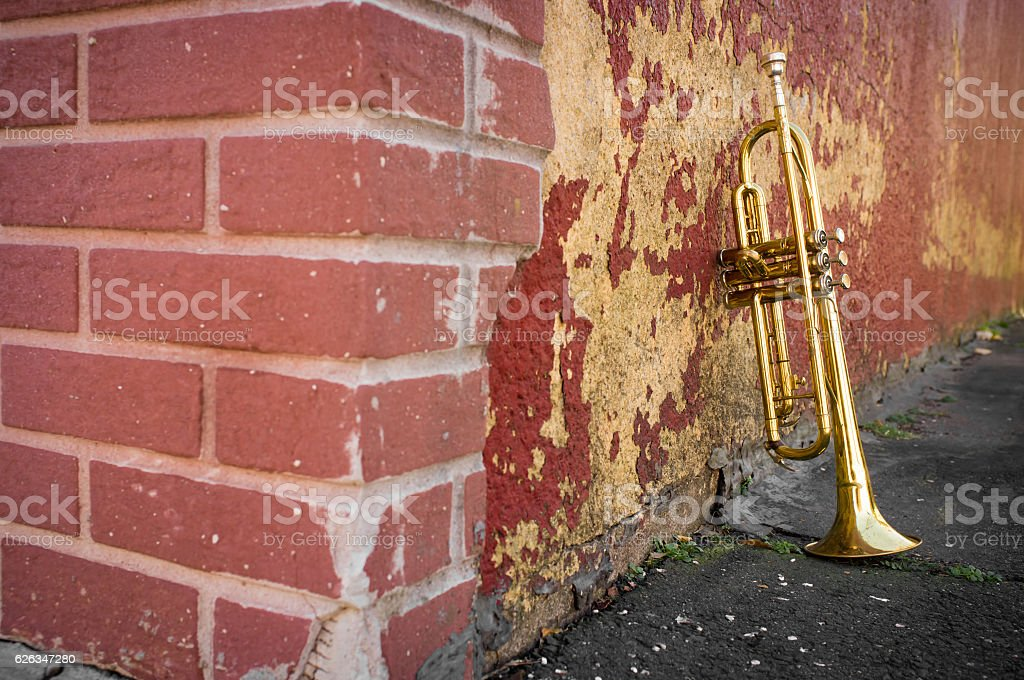 Old Trumpet Brick Wall stock photo