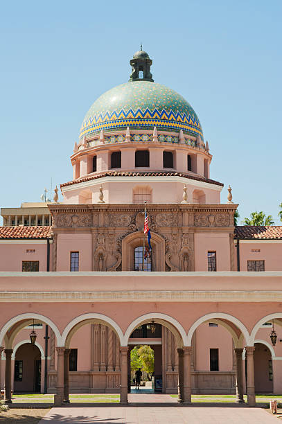 Old Tucson Courthouse The old Tucson Courthouse of Pima County is constructed in a beautiful mission style of architecture and is located right downtown. There is plenty of copy space available. pima county stock pictures, royalty-free photos & images