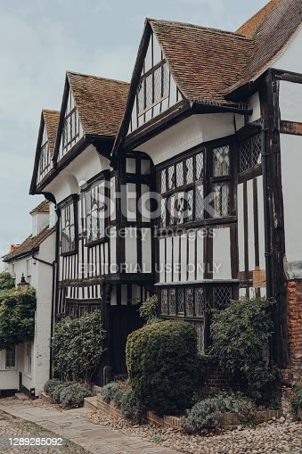 Rye, UK - October 10, 2020: Side view of an old Tudor style Hartshorn house on Mermaid street in Rye, one of the best-preserved medieval towns in East Sussex, England.