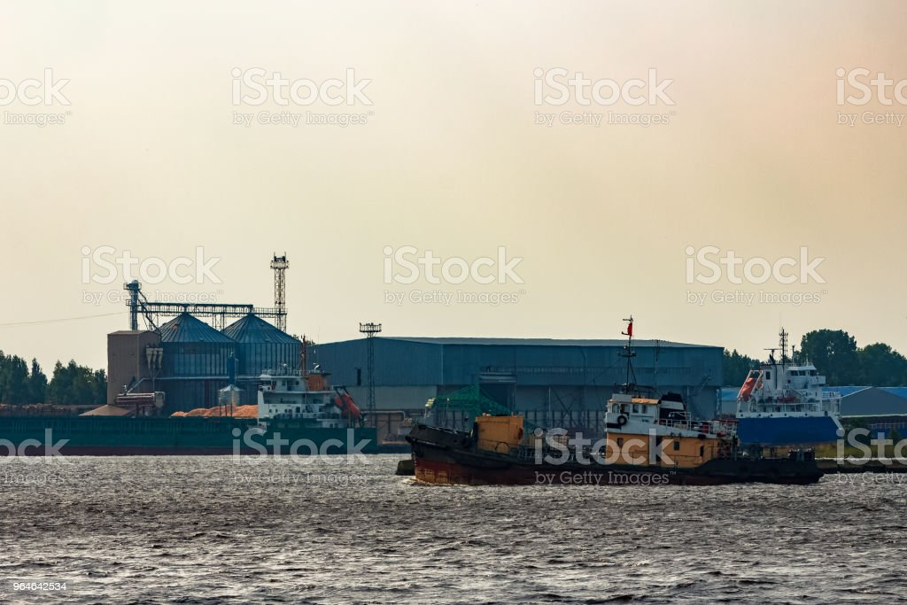 Old tug ship underway royalty-free stock photo