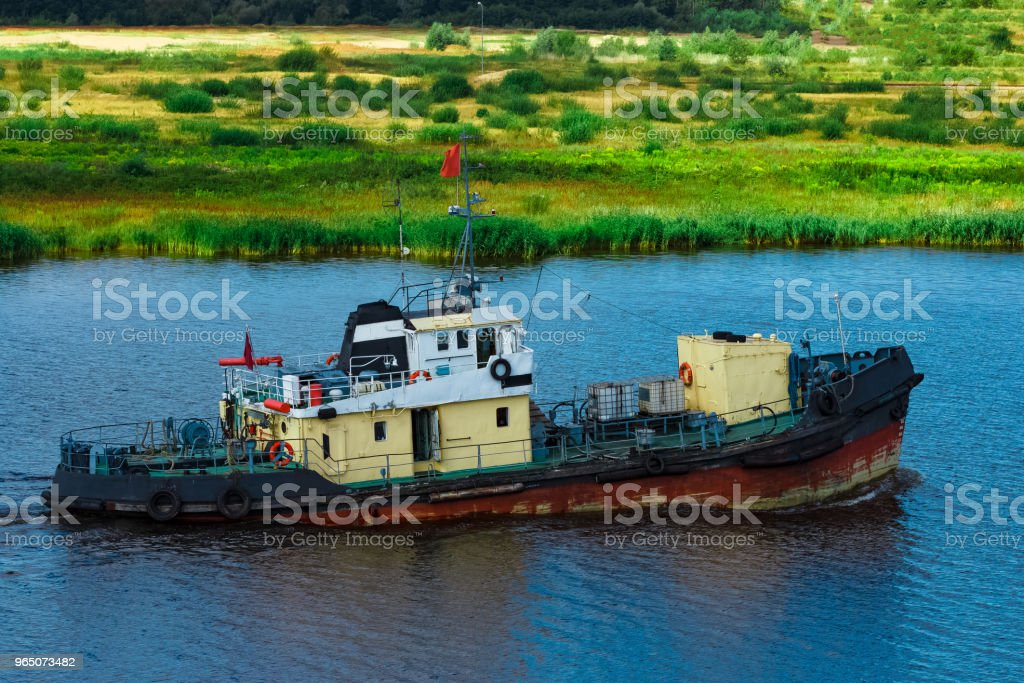 Old tug ship underway royalty-free stock photo
