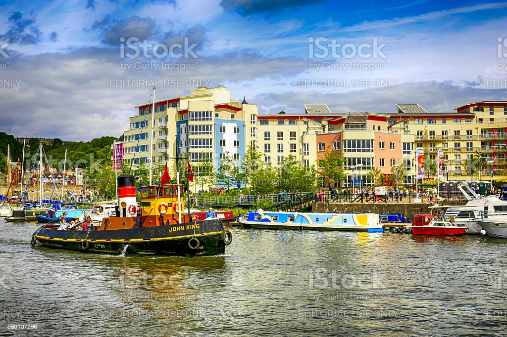 Old Tugboat  and other vessels in Bristol Harbour, UK stock photo