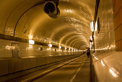 Old tunnel under the Elbe river in Hamburg