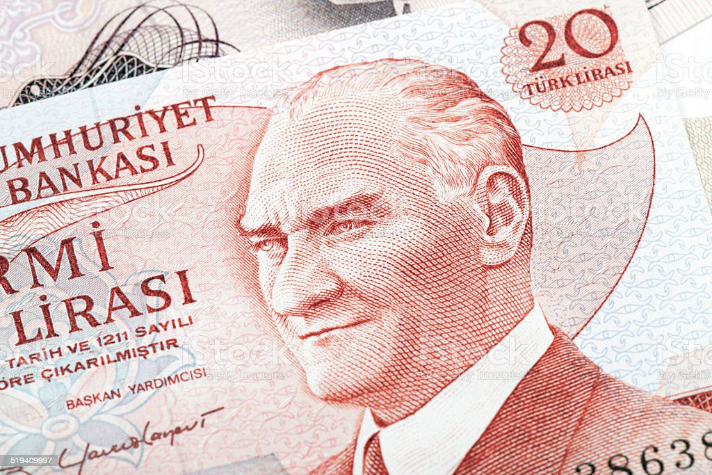 Old Turkish Lira, macro detail stock photo