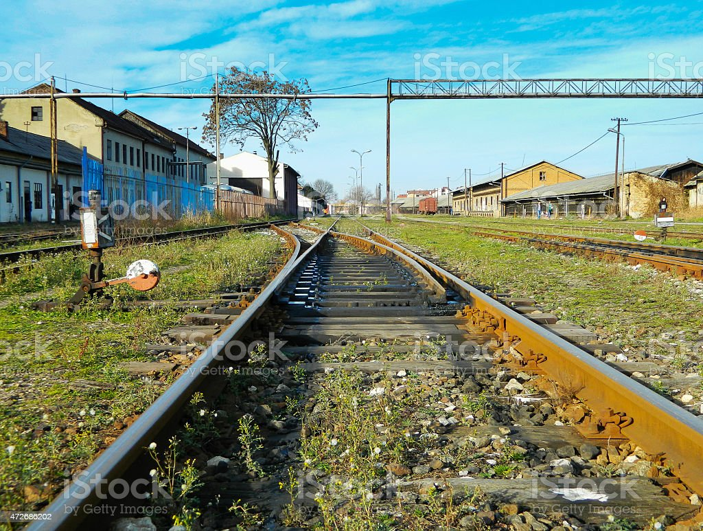 Old turnouts on the railway stock photo