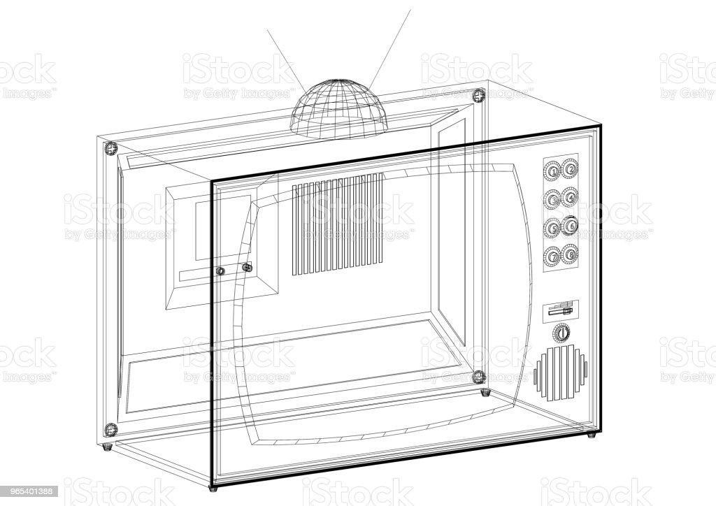 Old TV Architect blueprint - isolated zbiór zdjęć royalty-free