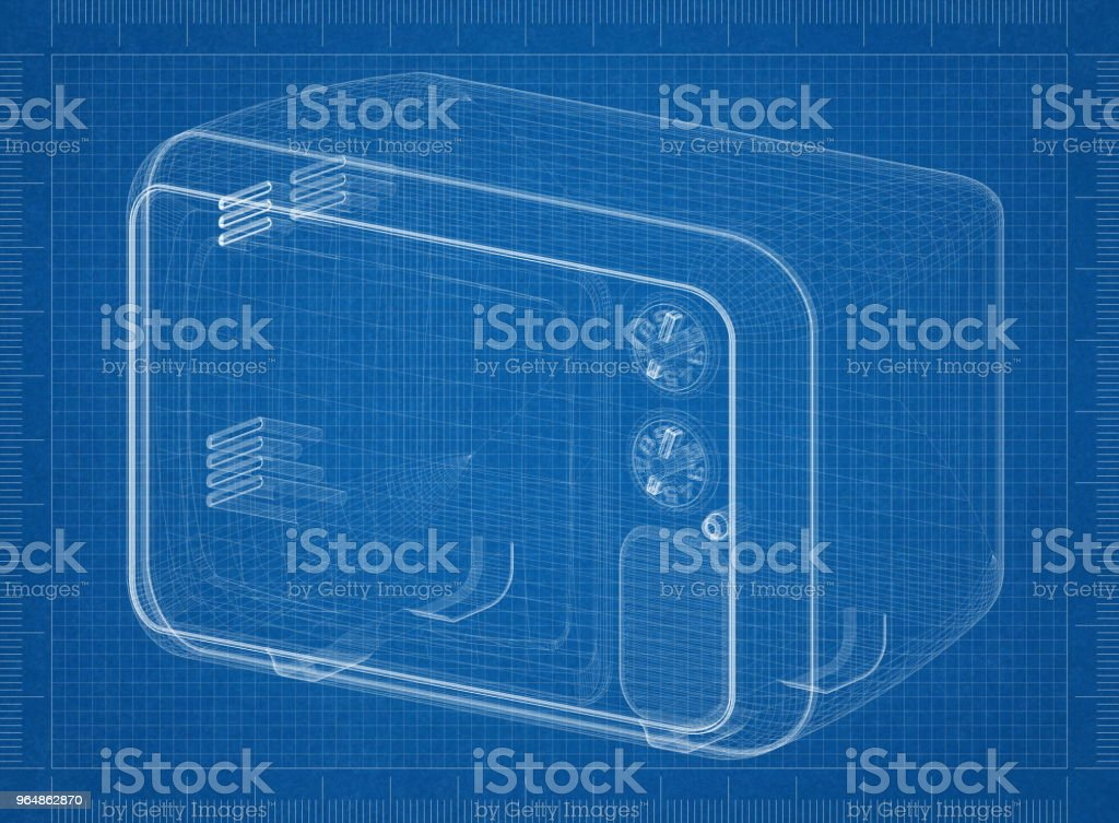 Old TV Architect blueprint royalty-free stock photo