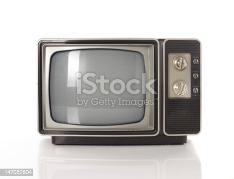 istock Old TV isolated on white 147052804