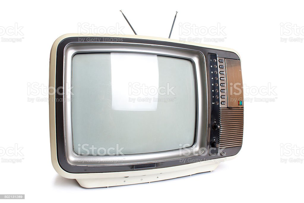Old tv isolated with clipping path. stock photo