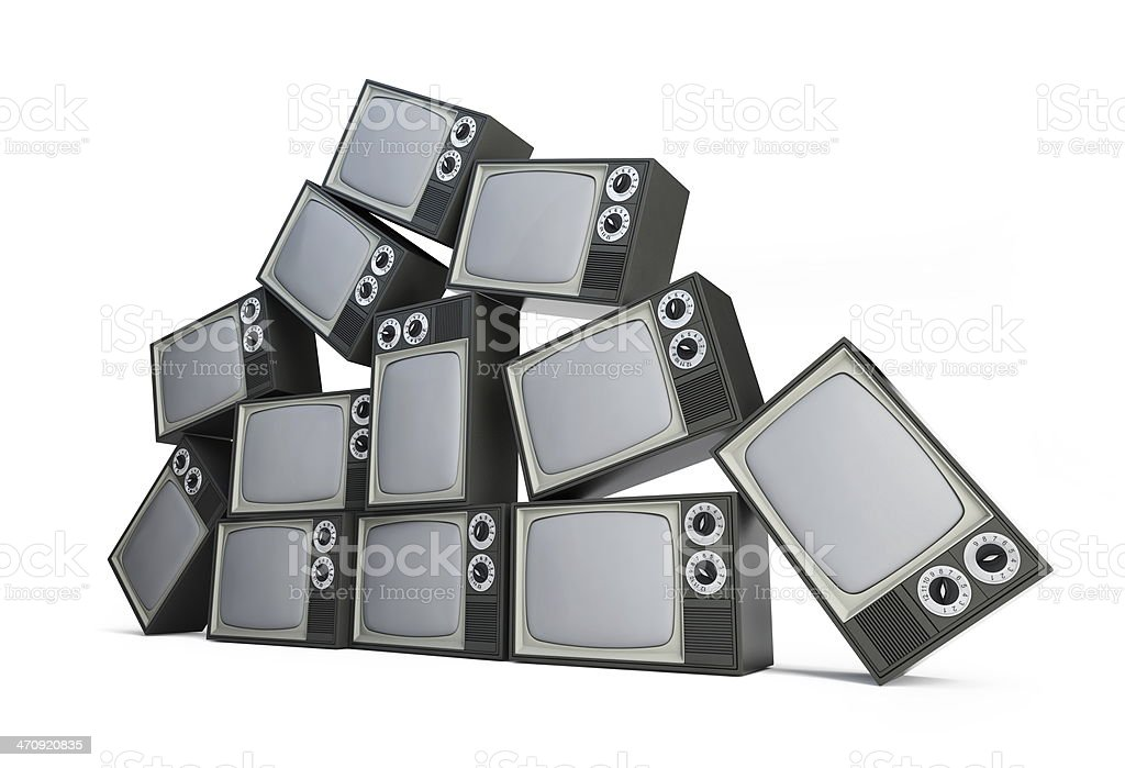 old tv on a white background stock photo