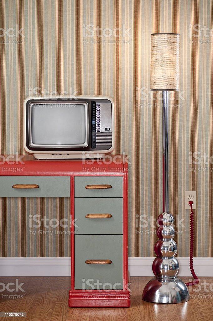 Old TV On Retro Desk stock photo