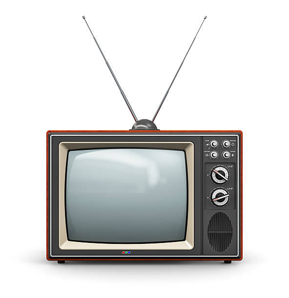 Old TV Creative abstract communication media and television business concept: old retro color wooden home TV receiver set with antenna isolated on white background. See also: antenna aerial stock pictures, royalty-free photos & images