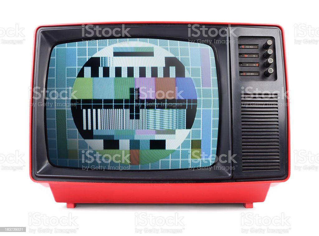 Old TV with Test Pattern on the Screen stock photo