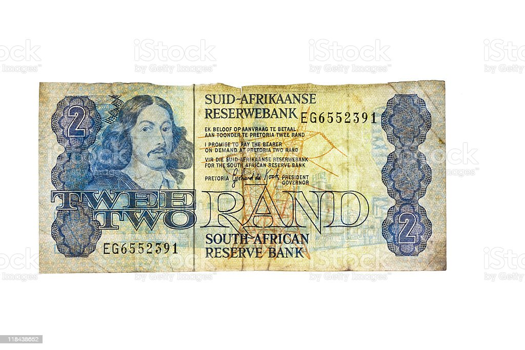 Old Two Rand Note stock photo