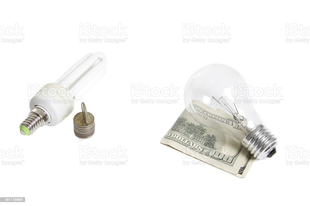 Old type and new enerdy saving light bilbs royalty-free stock photo
