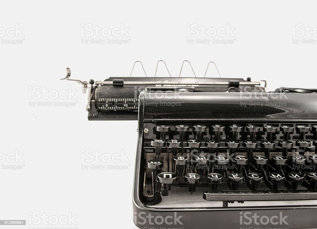 a88e8a86247 Old typerwiter with cyrillic letters on white background - Stock image .