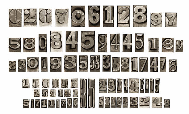 old typeset numbers - letterpress stock photos and pictures