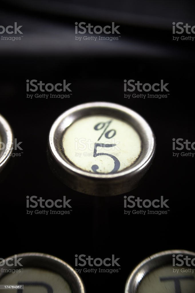 Old Typewriter - 5 and Percent Key royalty-free stock photo