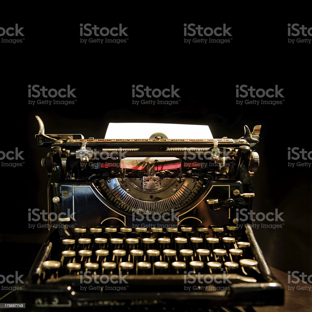 Old Typewriter Agains Black royalty-free stock photo