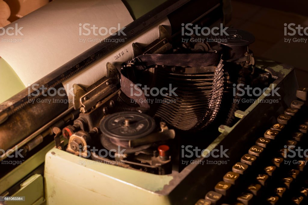 old typewriter at night with low light royalty-free stock photo