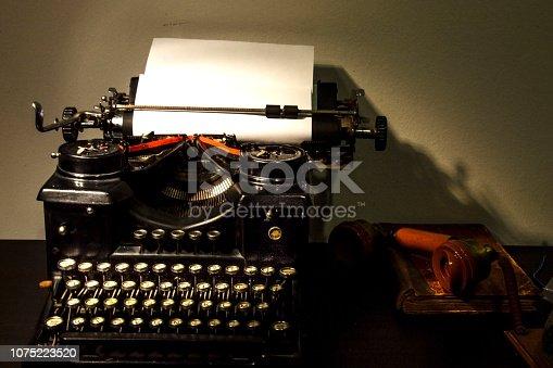 istock Old typewriter close-up. 1075223520
