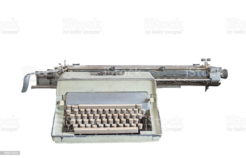 Old typewriter isolated on a white background. royalty-free stock photo