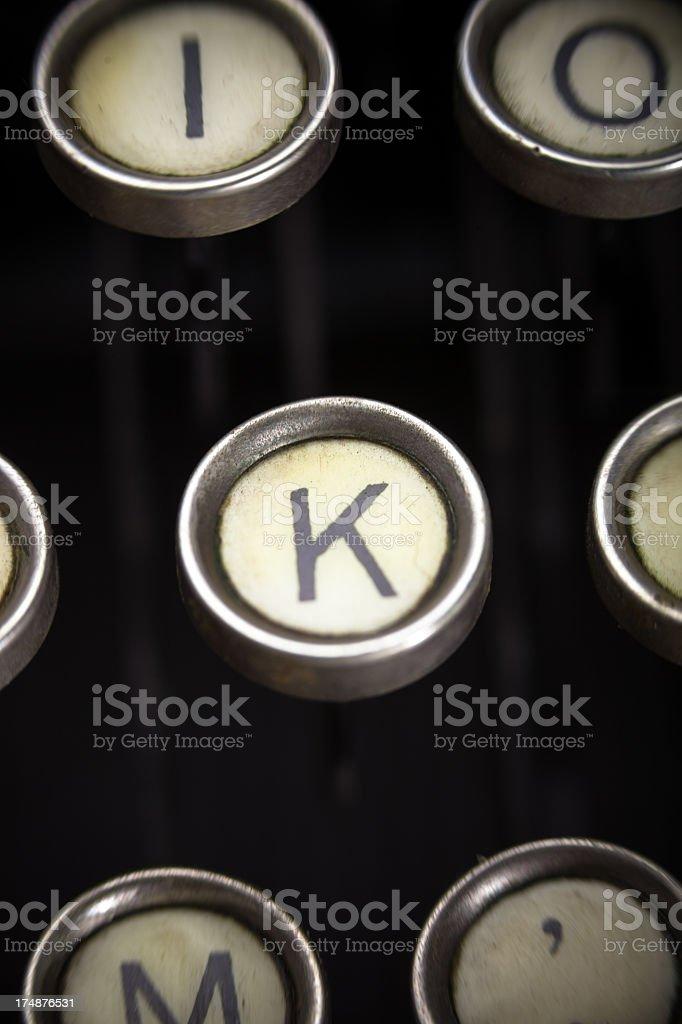 Old Typewriter - K Key stock photo