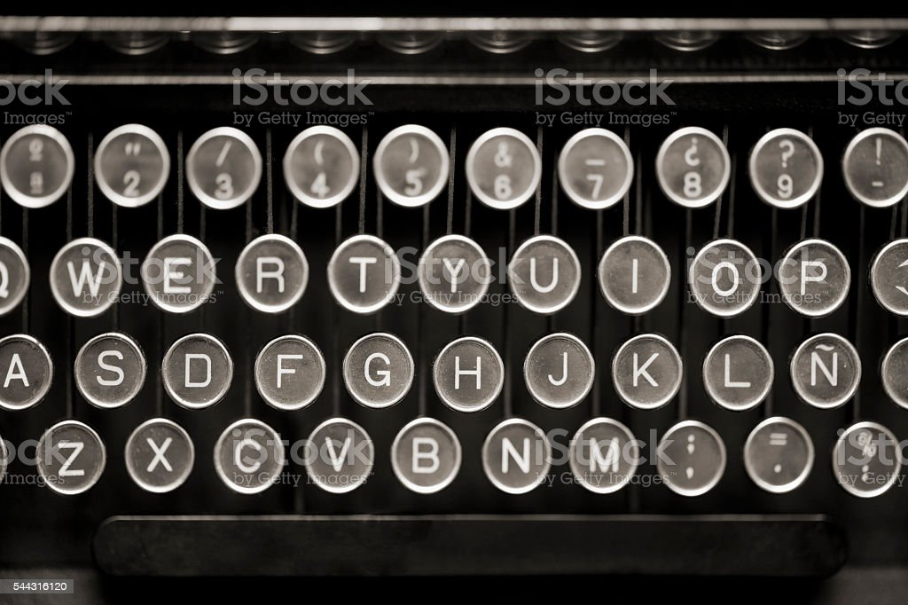 Old Typewriter Keyboard from above. stock photo