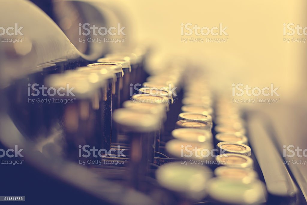 Old typewriter keyboard stock photo