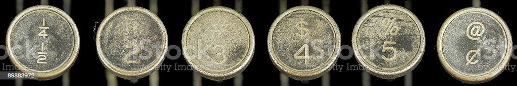 Старая Пишущая машинка ключи 2-5 и символы Стоковые фото Стоковая фотография