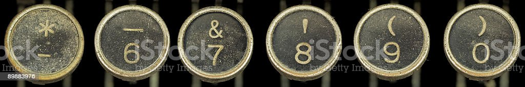 Old Typewriter Keys 6-0 and Symbols stock photo