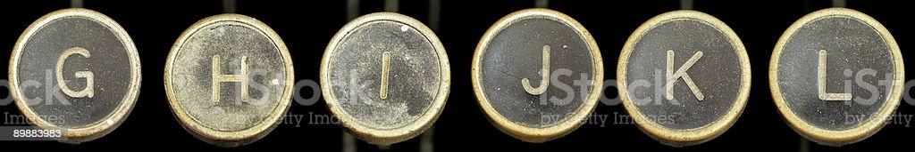 Old Typewriter Keys G-L stock photo