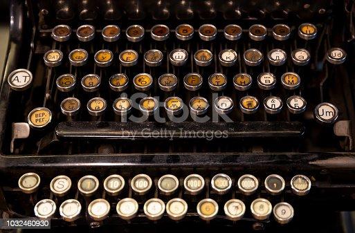 istock Old typewriter keys 1032460930