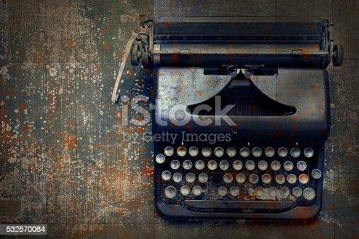 istock Old typewriter on the floor 532570084