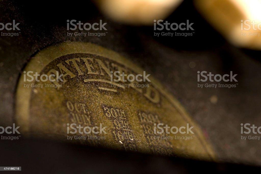 Old typewriter patent stamp stock photo
