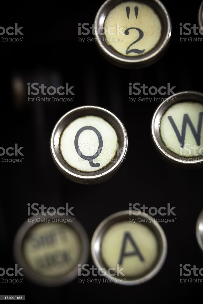 Old Typewriter - Q Key royalty-free stock photo