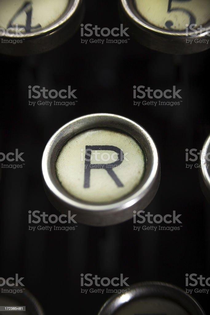 Old Typewriter - R Key royalty-free stock photo
