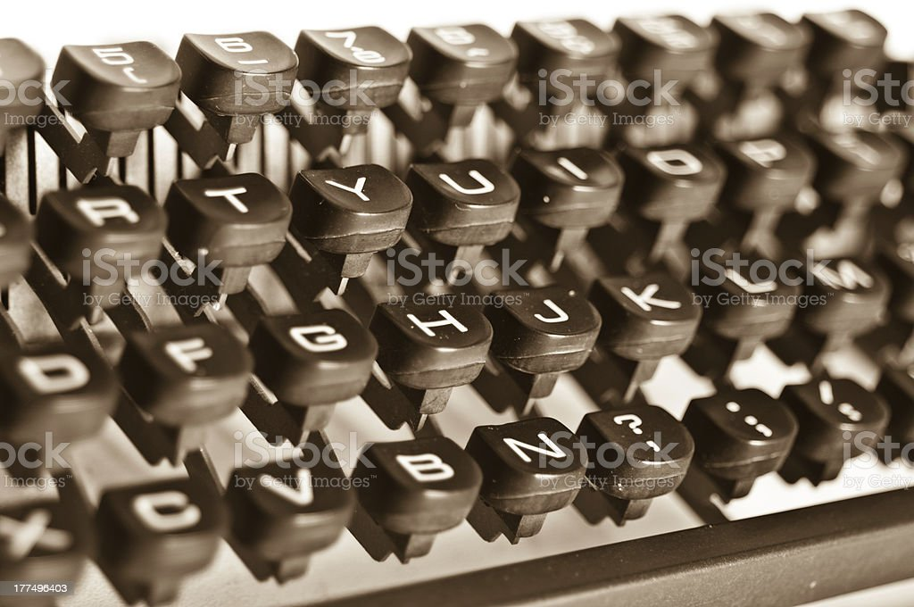 Old Typewriter. Sepia Tone royalty-free stock photo